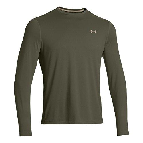 Mens Under Armour Longsleeve Tech T 2.0, Rifle Green/High Vis Yellow/Dark Green, XXL