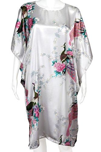 Diseño de flores retro de para mujer de pavo real y - raso - de novia Chemsie noche camiseta blanco