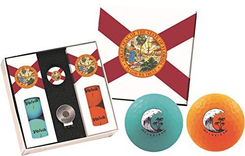 (Volvik Vivid Golf Balls State Edition Gift Packs - 6 Balls Ball Marker & Magnetic Hat Clip (Florida))