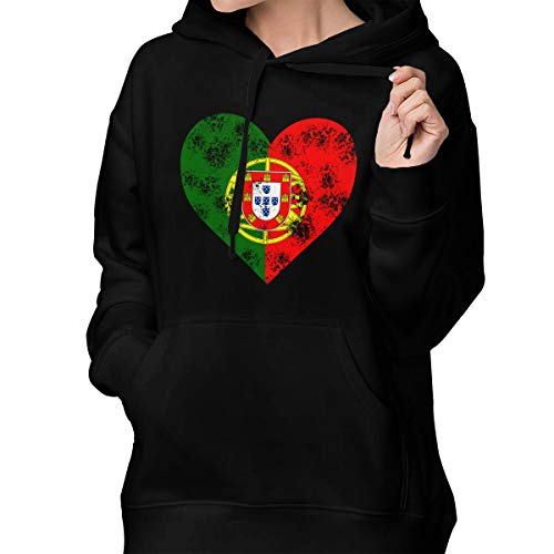 Goldsmith Sally Portugal Flag Heart Distressed Womens Pullover Hoodie Hooded Sweatshirt Sweaters with Pocket