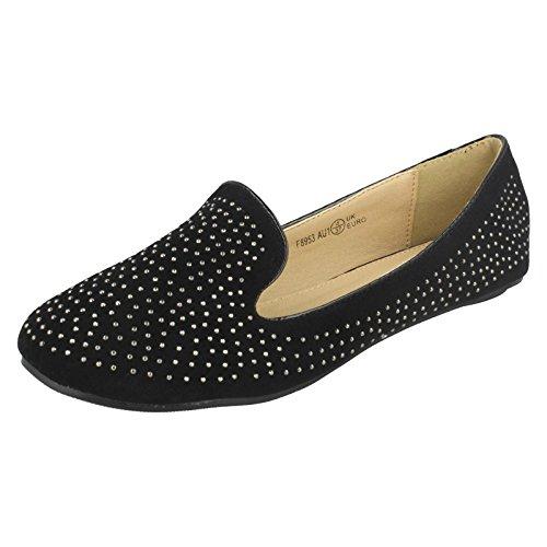 Spot On Flat Slipper Cut Ballerina / Diamante Upper Black 4bJqrlTV