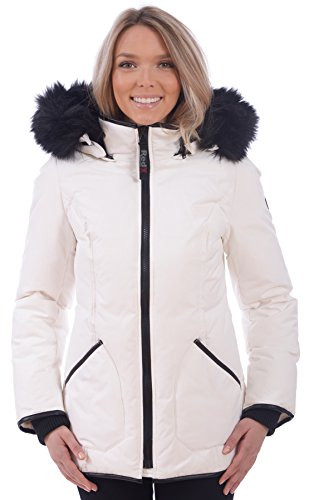 RedX Canada Women's Short Puffer Down Winter Coat With Faux Fur Lined Hood (White, X-Large) (X White 100 Coat Of)