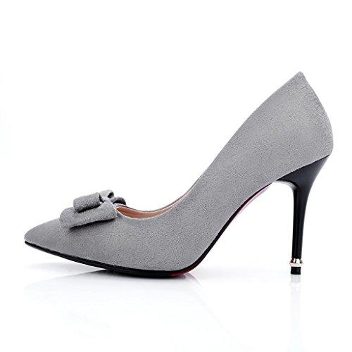 YLLHX Chaussures pour Femmes Quatre Saisons Bridal Work Pointed Shallow Bouche Suede Quatre Saisons Noeud Papillon Demoiselle D'honneur High fel Talon Princesse Gris xT9016