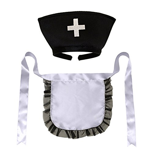 [Nurse Hat Headband & Apron Costume Set (STC12186) ~ Halloween Accessory] (Nurse Costumes For Teens)