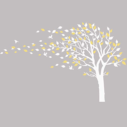 Large Tree Blowing in The Wind Tree Wall Decals Wall Sticker Vinyl Art Kids Rooms Teen Girls Boys Wallpaper Murals Sticker Wall Stickers Nursery Decor Nursery Decals (White and Yellow,Left)