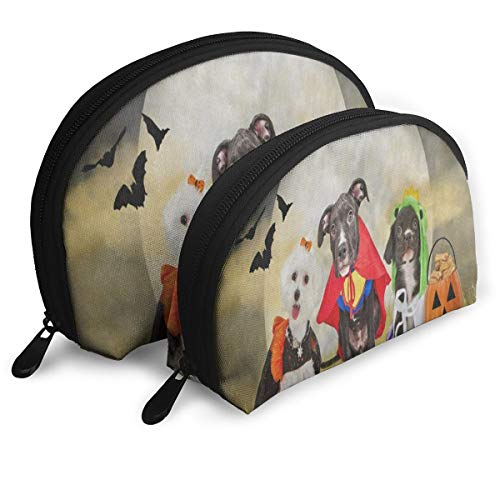 Pingshoes Makeup Bag Hipster Puppy Dog Dressed in Halloween Costumes Handy Half Moon Travel Bags Organizer Women ()
