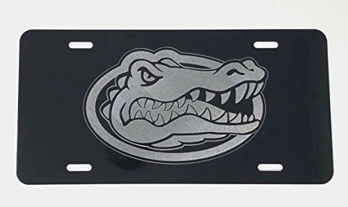 Diamond Etched Florida Gators Logo 2 Car Tag on Black Aluminum License Plate