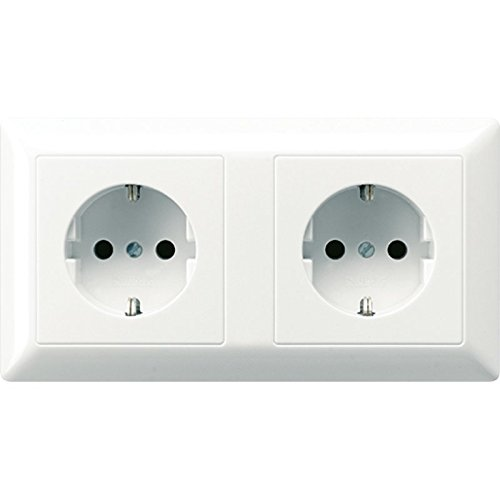 Jung AS522  Bfww Cable Channel SCHUKO double socket-outlet AS522BFWW