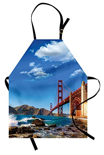 Lunarable Landscape Apron, San Francisco Golden Gate Bridge Rocky Sea Waterscape Scenic Coastline Vacation, Unisex Kitchen Bib Apron with Adjustable Neck for Cooking Baking Gardening, (San Francisco Costumes)