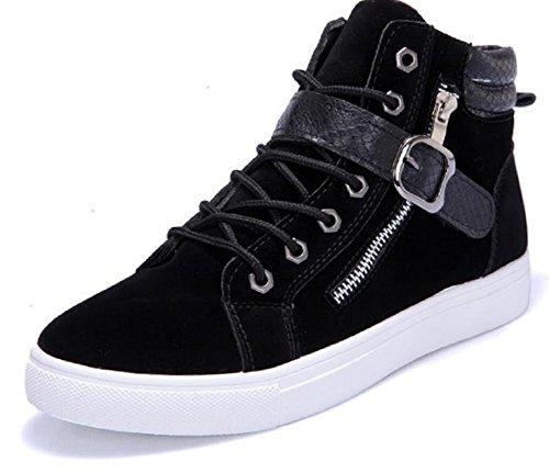 Kuro&Ardor Men's High-Top Sneaker Shoes Fashion Strap Side Zip Casual Shoes Boys (9.5 US 27cm, Black) by Kuro&Ardor