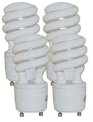 - 13 Watt Mini Spiral - GU24 Base - (60W Equivalent) CFL Light Bulb - 2700K Warm White - 4pack