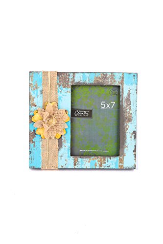 Green Tree Gallery Distressed Photo Frame with Burlap Flower, Blue and Brown, for 5 x 7 inch Photo