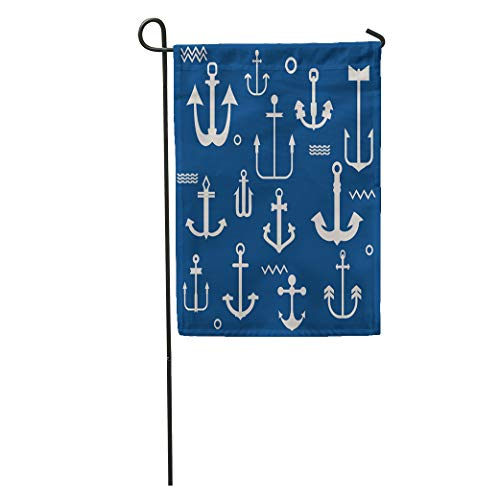 Semtomn Garden Flag Nautical Various Anchor Collection in Pattern Marine Boat Away Emblem Home Yard Decor Barnner Outdoor Stand 28x40 Inches Flag