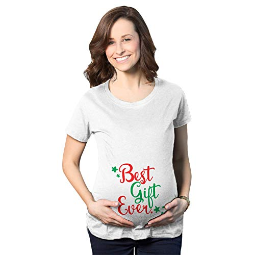 T-shirt Pregnancy Maternity (Maternity Best Gift Ever T Shirt Funny Christmas Bump Pregnancy Tee for Women (white) XL)