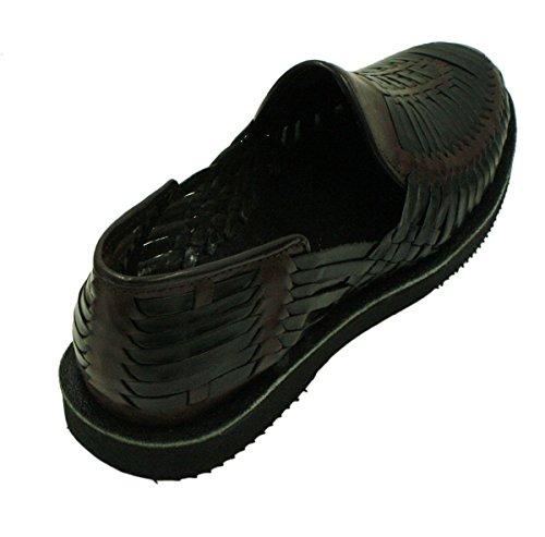 Män Äkta Äkta Läder Sluten Tå Mexikanska Huarches Sandal Svartbrun