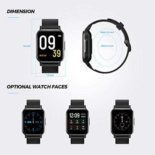 SoundPEATS Watch 1 Smart Sports Watch Health and Fitness Tracker with Heart Rate Monitor Sleep Quality Tracker IP68 Waterproof 1.4″ Color Touch Screen Call & Message Reminder 12 Sports Modes 418ivwmCXsL