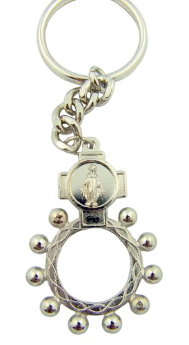 Silver Tone One Decade Rosary Ring Miraculous Medal Key Chain, 2 Inch -