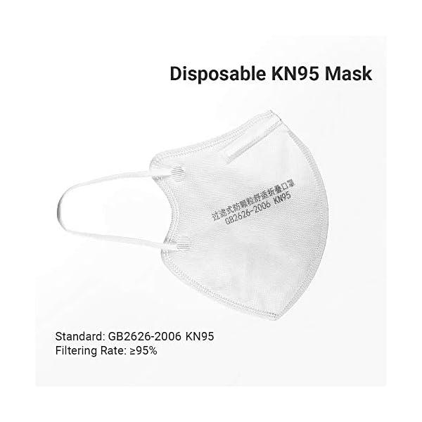 Máscara KN95, Fesjoy- 5pcs Máscara desechable KN95 95% de filtración Máscaras protectoras no tejidas suaves y transpirables 4