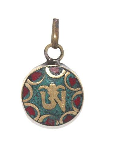 (Coral Pendant Tibetan Pendant Turquoise Pendant Om Pendant)