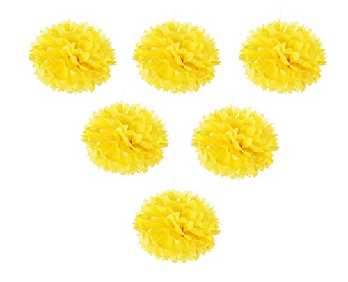 Tissue Pom Poms Flowers - 6-Pack Tissue Paper Decorative Hanging Flower Balls For Wedding, Baby Shower, Birthday, Party Decorations, Yellow (Wedding Beach Balls)