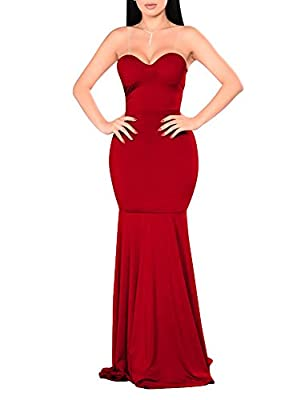 GOBLES Womens Sexy Off Shoulder Prom Mermaid Gowns Party Maxi Evening Dress