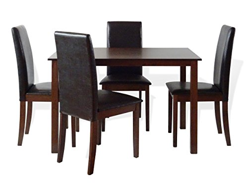 Dining Kitchen 5 Pc SET Rectangular Table and 4 Fallabella Chairs Dark Walnut