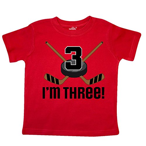 inktastic 3rd Birthday Ice Hockey Sports Boys Party Toddler T-Shirt 4T Red