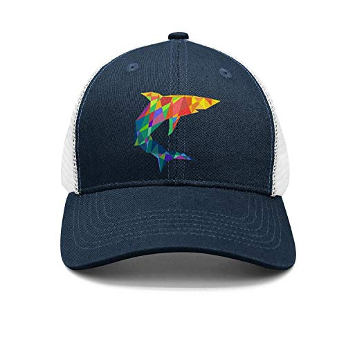 Colored Checkered Rainbow Shark Mens Womens Mens Cotton Adjustable Sun Cap df99d48cc5ca