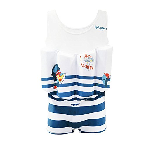 HnjPama Kid's Blue Whale Floatation Swimsuits Swim Vests Life Jackets & Vests with Adjustable Buoyancy for 2-8 Years Baby Boys-XXS