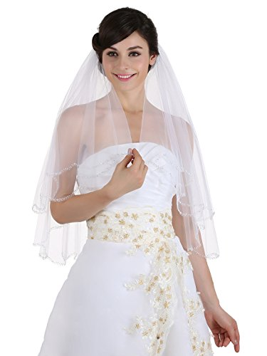 (2T 2 Tier Beaded Scallop Edge Bridal Veil - White Elbow Length 30