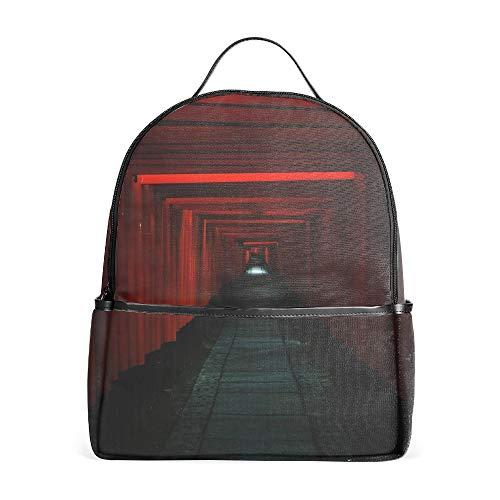 Tunnel Passage Dark Red Backpacks College School Travel Shoulder Bag Rucksack