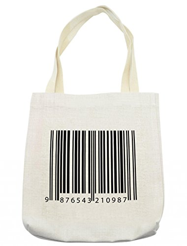 Barcode Design Software - Lunarable Striped Tote Bag, Barcode Symbol Background Codes Data Software Linear One-Dimensional Work of Art, Cloth Linen Reusable Bag for Shopping Groceries Books Beach Travel & More, Cream
