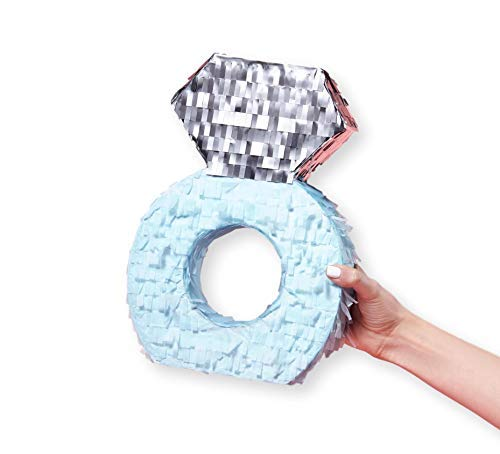 Diamond Ring Pinata for Engagement Bachelorette Party Decorations and Photo Booth Props Wedding, 8.2 x 2 x 11.8 Inches,  Set of 1