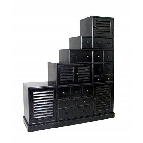 Wayborn Home Furnishing Tonsu Step Cabinet, Antique Black by Wayborn Home Furnishing Inc