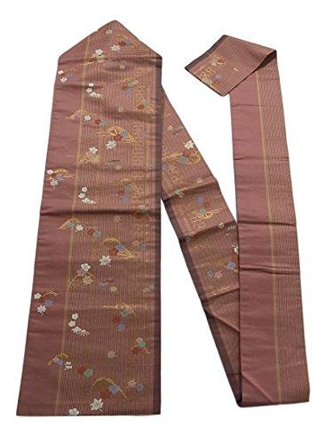 とても喪ミスリサイクル 名古屋帯 縞に楓や梅笹文 金糸 正絹