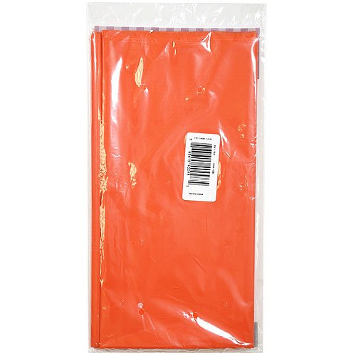 Hanna K. Signature Collection Solid Orange 54 by 108-Inch Full Size Plastic Tablecover