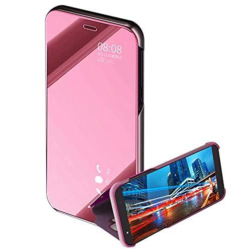 Mirror Makeup Electroplated Vertical Bracket Case for Samsung Galaxy J2 Pro 2018,SKYXD Luxury Elegant Plating Stand Function Flip Magnetic Closure Cover for Samsung Galaxy J2 Pro 2018(Rose Gold)