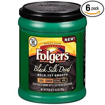 Folgers Black Silk Decaf Ground Coffee 10.3oz Canister (Pack of 6)