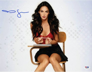 Megan Fox Signed Autograph Jennifers Body 11x14 Photograph- PSA Hologram sitting at desk-sexy pose movie entertainment