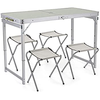 Sunkorto Folding Picnic Table With 2 Chairs Portable Camping Table And Chairs Set For Outdoor Camping