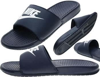 NIKE Men's Benassi Just Do It Athletic Sandal, White/Midnight Navy, 12 D US