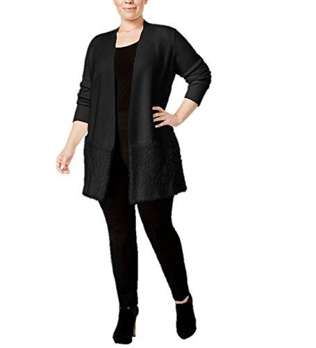 Alfani Plus Size Open-Front Eyelash Cardigan 2x Black