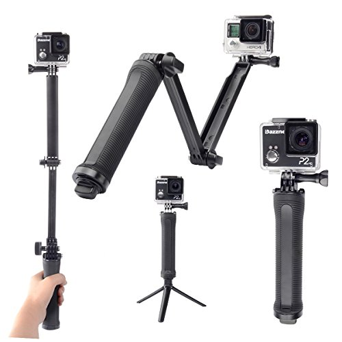 Tinksky Portable 3-Way Adjustable Extendable Monopod Selfie Pole Stick with Tripod Adapter for GoPro HERO Cameras