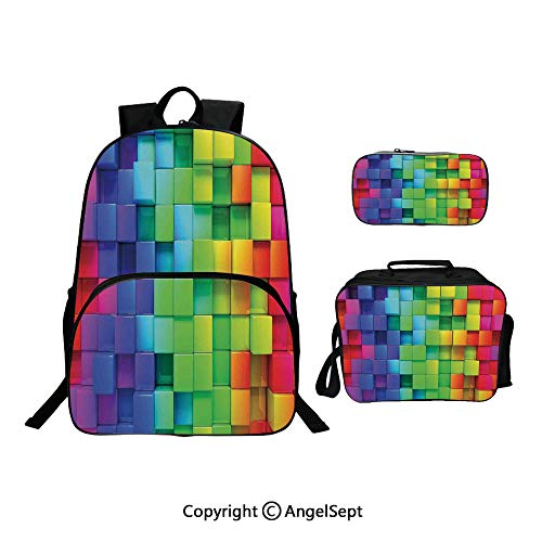 School Backpack With Lunch Bag Pencil Bag One Set,Rainbow Color Contour Display Futuristic Block Brick Like Geometric Arti Multi,Lightweight Laptop Bag For Teen Boys And Girls