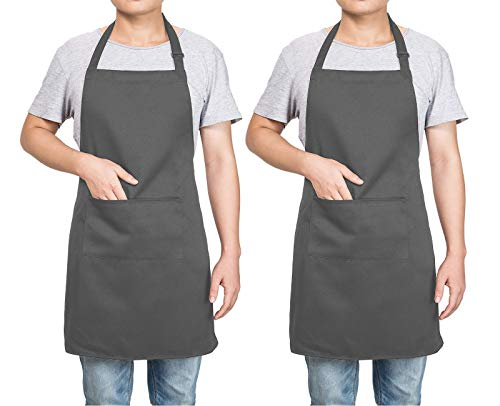 NANOOER 2 Pack Adjustable Bib Kitchen Apron with 2 Pockets Cooking Kitchen Aprons for Women Men Chef BBQ Apron - King of The Grill Barbecue (One Size, Grey) (Bbq King Apron)
