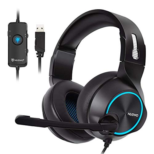 PC Gaming Headset 7.1 Surround Sound,USB Gaming Headphones for PS4,FPS Game,with Noise Cancelling Mic,Over Ear Soft Earmuff,Chat Volume Control,50mm Driver,LED Light