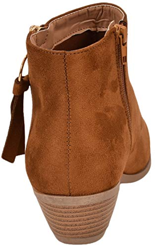 True Womens Ladies Low Mid Faux Suede Heel Fashion Face Side Chelsea Boots tan Ls0921 Suede Zip Ankle Shoes 0rp0q5w