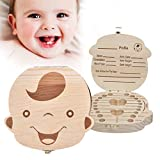 Glucktrade Kids Baby Tooth Box Wooden Baby Keepsake Box,Cute Children Tooth Fairy Box Tooth Holder Container,Baby Teeth Save Box Organizer Child Tooth Storage with Tweezers to Keep the Childwood Memory (boy)
