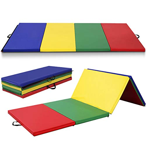 Giantex 4'x10'x2 Gymnastics Mat Folding Panel Thick Gym Fitness Exercise (Multicolor)