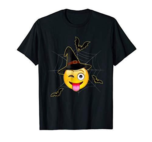 Funny Halloween Emoji Witch Winking Face With Tongue T-Shirt ()
